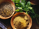 Coriander; Plant Seeds and Ground