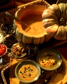 Pumpkin Cream Soup in Pumpkin and Bowls