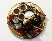 Three Cups of Mocha Coffee on a Brass Tray