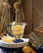 Lemon fruit punch in a Glass Pitcher with Lemon Slices