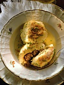 Gefillte - potato dumplings stuffed with mince