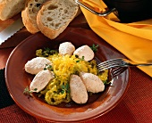 Saffron white cabbage with Mascarpone-salmon-dumpling