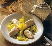 Saffron cabbage with mascarpone and salmon dumplings