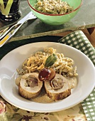 Pork fillet with plum stuffing and poppy seed spaetzle