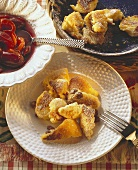 Browned omelets with raisins & plum compote