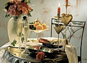 Romantic Table Setting; Roses and Champagne; Candles