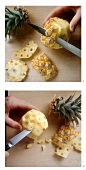 "Peeling baby pineapple and removing the ""eyes"""