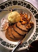 Venison Slices with Chanterelles and a Dumpling