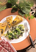 Three pieces of pumpkin quiche with nettles & leeks
