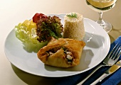 Fried Puff Pastry Pocket with Shrimp and Vegetable Stuffing and Rice