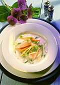 Buttermilk Soup with Trout Fillet and Vegetables Strips