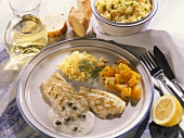 Grilled halibut fillet with squash & rice