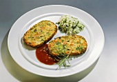Broccoli and Carrot Pancakes with Tomato Sauce and Herb Rice