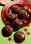 Chocolate Covered Gingerbread Balls with Pistachios