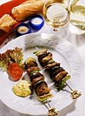Beef Zucchini Eggplant and Leek Skewers on a Plate