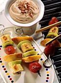 Grilled Skewered Fruit; Chocolate Mousse