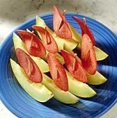 Melon Boats; Honeydew Melon with Salami Slice