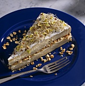 A piece of brie tart with sprouts and hazelnut filling