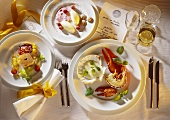 Menu; goose liver pate - lobster - vanilla mousse