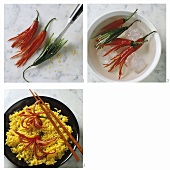Preparing chili flowers on curried rice