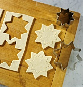 Cutting out puff pastry stars
