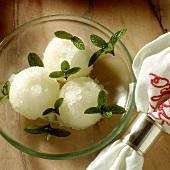 Lemon Sorbet with Mint Leaves