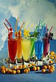 Rainbow Drinks on a Silver Tray