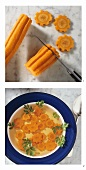 Cutting decorative carrot flowers (e.g. as soup garnish)