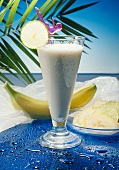 Banana Milkshake with a Lemon Slice
