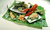 Assorted Crustaceans on Banana Leaves