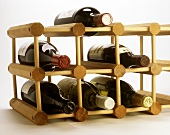 Wine rack with six bottles for the private wine cellar
