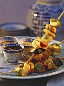 Deep Fried Vegetable Skewers with Three Dips