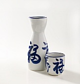 Asian Sake Bottle and Sake Cup