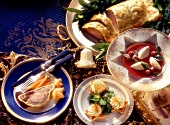 Assorted Christmas Dishes with Decorations