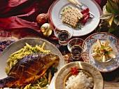 Menü: Geflügelterrine, Karpfen chinesische Art, Apfelcrumble