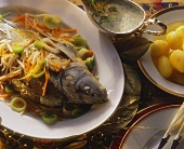 Carp cooked blue with celery and carrots & dill sauce