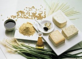Assorted Ingredients; Tofu and Soy Sauce