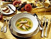 Fish Soup with Snow Peas and Fish Fillets