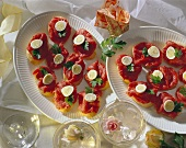 French Bread Slices with Fillet of Beef and Quail Eggs