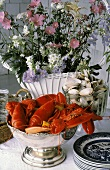 Bowl of Lobsters; Bowl of Clams on a Table
