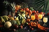 Still Life of Exotic Fruit with Assorted Fruit Juices