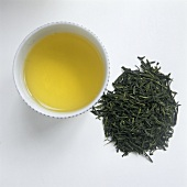Sencha Tea Leaves and Tea in a Bowl