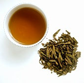 A Bowl of Bancha Tea with Loose Tea Leaves