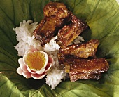 Barbecue Spare Ribs with White Rice; Flower
