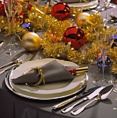 Place Setting on a Festive Christmas Table Setting