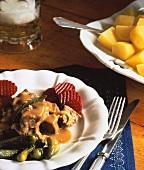 Westphalian beef dish (Pfefferpotthast), gherkins & beetroot