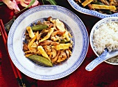 Pork Chop Suey with Vegetables and Mushrooms; White Rice