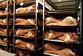 Dried Ham on Racks