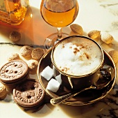 Capuccino with Sugar Cubes and Cookies