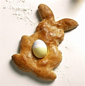 Easter Bunny Pastry with a Colored Easter Egg